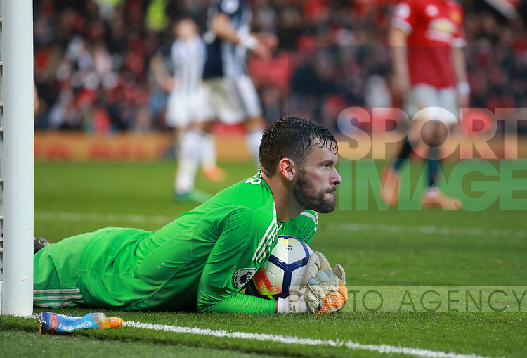 Ben Foster of West Bromwich Albion collects the ball at his near post during the premier league match at the Old Trafford Stadium, Manchester. Picture date 15th April 2018. Picture credit should read: Simon Bellis/Sportimage