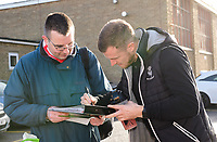 Lincoln City's Michael O'Connor signs autographs as he arrives at the ground<br /> <br /> Photographer Chris Vaughan/CameraSport<br /> <br /> Emirates FA Cup First Round - Lincoln City v Northampton Town - Saturday 10th November 2018 - Sincil Bank - Lincoln<br />  <br /> World Copyright © 2018 CameraSport. All rights reserved. 43 Linden Ave. Countesthorpe. Leicester. England. LE8 5PG - Tel: +44 (0) 116 277 4147 - admin@camerasport.com - www.camerasport.com