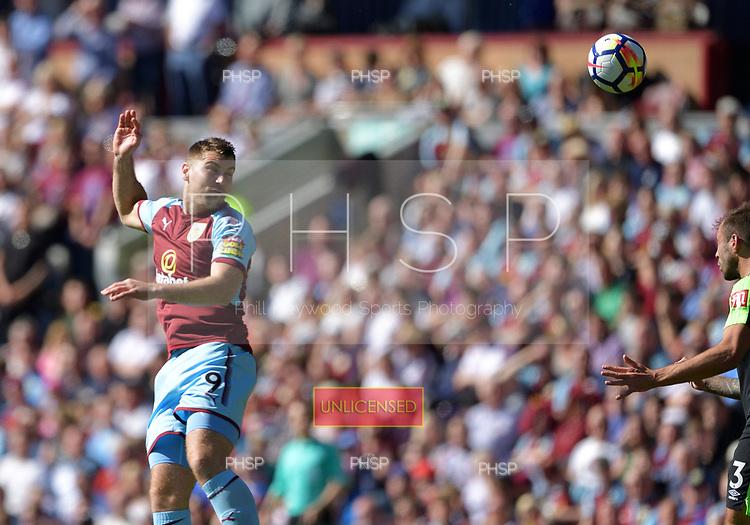13/05/2018 Premier League Burnley v AFC Bournemouth<br /> <br /> Sam Vokes heads towards goal