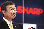 Kozo Takahashi, President and CEO of Sharp Corporation, speaks at a joint press conference with Taiwan's Foxconn held at Sakai Display Products Corporation on April 2, 2016 in Sakai Ward, Osaka, Japan. Gou and Takahashi announced the final terms for the deal for the Foxconn to acquire Japans Sharp at discounted rate on after a month of uncertainty. Originally Foxconn had offered $4.4 billion for a two-thirds stake in Sharp, but ended up paying $3.5 billion after undisclosed Sharp liabilities became apparent. Foxconn is expected to use its controlling stake in Sharp to strengthen its negotiating position with its biggest customer, Apple Inc., now that it has access to Japanese companys superior screen display technology. (Photo by Shingo Ito/AFLO)
