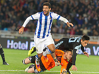 Real Sociedad's Carlos Vela celebrates goal during La Liga match.November 23,2013. (ALTERPHOTOS/Mikel)
