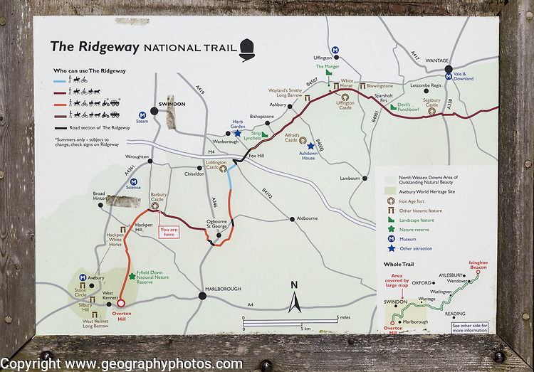 Map of the Ridgeway National Trail at Barbury castle, Wiltshire, England, UK