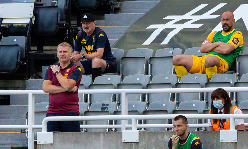 Aston Villa head coach Dean Smith watches on from the stands<br /> <br /> Photographer Alex Dodd/CameraSport<br /> <br /> The Premier League - Newcastle United v Aston Villa - Wednesday 24th June 2020 - St James' Park - Newcastle <br /> <br /> World Copyright © 2020 CameraSport. All rights reserved. 43 Linden Ave. Countesthorpe. Leicester. England. LE8 5PG - Tel: +44 (0) 116 277 4147 - admin@camerasport.com - www.camerasport.com