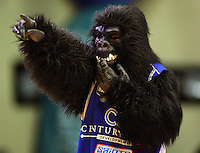 The Saints gorilla mascot entertains the crowd during a break during the NBL Semifinal basketball match between the Wellington Saints and Nelson Giants at TSB Bank Arena, Wellington, New Zealand on Thursday, 12 June 2008. Photo: Dave Lintott / lintottphoto.co.nz