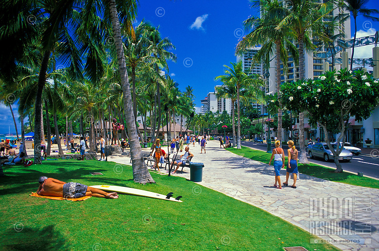 The newly renovated Waikiki Historic Trail offers visitors the opportunity to relax on manicured grass, smell beautiful island flowers,enjoy flowing water fountains or just partake of the sights and sounds of Waikiki Beach. Located along Kalakaua av