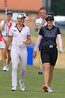 Ryan O'Toole (USA) and Rebecca Artis (AUS) on the 2nd fairway during Round 3 of the Ricoh Women's British Open at Royal Lytham &amp; St. Annes on Saturday 4th August 2018.<br /> Picture:  Thos Caffrey / Golffile<br /> <br /> All photo usage must carry mandatory copyright credit (&copy; Golffile | Thos Caffrey)