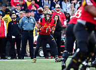 College Park, MD - NOV 11, 2017: Maryland Terrapins wide receiver D.J. Moore (1) catches a pass during game between Maryland and Penn State at Capital One Field at Maryland Stadium in College Park, MD. (Photo by Phil Peters/Media Images International)