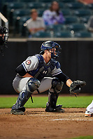 Staten Island Yankees catcher Josh Breaux (28) waits to receive a pitch during a game against the Aberdeen IronBirds on August 23, 2018 at Leidos Field at Ripken Stadium in Aberdeen, Maryland.  Aberdeen defeated Staten Island 6-2.  (Mike Janes/Four Seam Images)