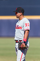 Scottsdale Scorpions first baseman Darick Hall (30), of the Philadelphia Phillies organization, during an Arizona Fall League game against the Peoria Javelinas at Peoria Sports Complex on October 18, 2018 in Peoria, Arizona. Scottsdale defeated Peoria 8-0. (Zachary Lucy/Four Seam Images)