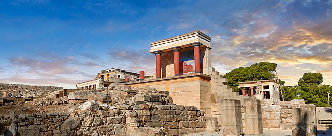 Panorama of Minoan of the North Entrance Propylaeum with its painted charging  bull releif,  Knossos Palace archaeological site, Crete. At sunset.