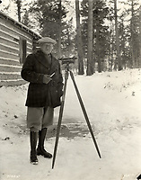 Sir Henry Thornton, president of Canadian National Railways, at the Jasper Park Lodge construction site,Jasper National Park, ca. 1923