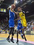 07.10.2018, EWE Arena, Oldenburg, GER, BBL, Pokal, Achtelfinale, EWE Baskets Oldenburg vs Science City Jena,, im Bild<br /> am Ball.....<br /> Will CUMMINGS (EWE Baskets Oldenburg #3 )<br /> Sid-Marlon THEIS ( Science City Jena #9 )<br /> Foto &copy; nordphoto / Rojahn