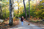 Woman and Dog Walking in the Woods during Fall Season in Rural Hancock, New Hampshire USA