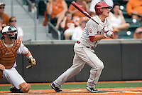 Caleb Bushyhead #5 of the Oklahoma Sooners swings against the Texas Longhorns in NCAA Big XII baseball on May 1, 2011 at Disch Falk Field in Austin, Texas. (Photo by Andrew Woolley / Four Seam Images)