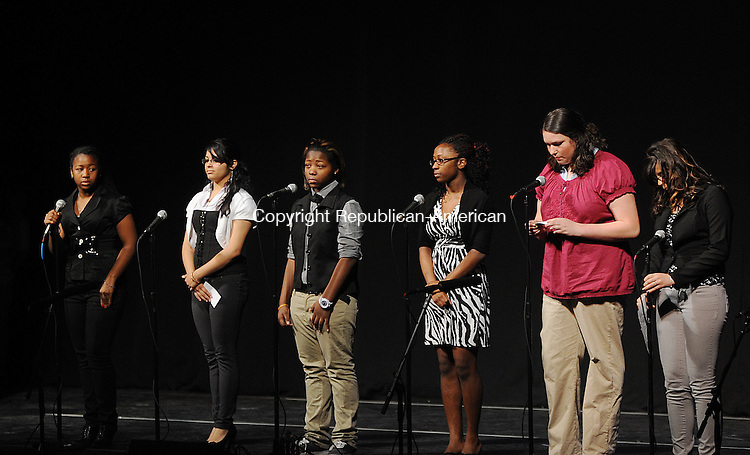 WATERBURY, CT-29 APRIL 2012--043012JS03-Students from Wilby High School read their poems and stories on Hurricane Katrina during the Waterbury Public Schools' Spring Language Arts Festival featuring creative responses to literature Monday at the Palace Theater in Waterbury. . Jim Shannon Republican-American