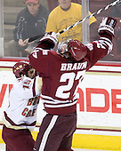 Joe Whitney (BC - 15), Justin Braun (UMass - 27) - The Boston College Eagles defeated the University of Massachusetts-Amherst Minutemen 5-2 on Saturday, March 13, 2010, at Conte Forum in Chestnut Hill, Massachusetts, to sweep their Hockey East Quarterfinals matchup.