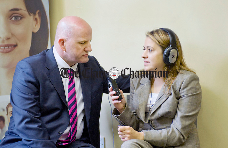 Sean Gallagher, independent presidential candidate, records an interview with Aine Maye-Mahony, entrepreneur, at the Clare Supported Employment Service on Harmony Row during his recent visit to Ennis. Photograph by Declan Monaghan