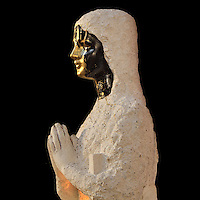 KASPER, sculpture of Virgin Mary, 21st century, reconstituted stone and oil on canvas, 360x360, quadriptique, from exhibition Les Vierges de Noel (Christmas Virgins), January 2012, Eglise Saint-Sulpice (St Sulpitius' Church), c.1646-1745, late Baroque church on the Left Bank, Paris, France. L'autorisation de reproduire cette oeuvre doit etre demandÈe auprËs de l'ADAGP/Permission to reproduce this work of art must be obtained from DACS. Picture by Manuel Cohen
