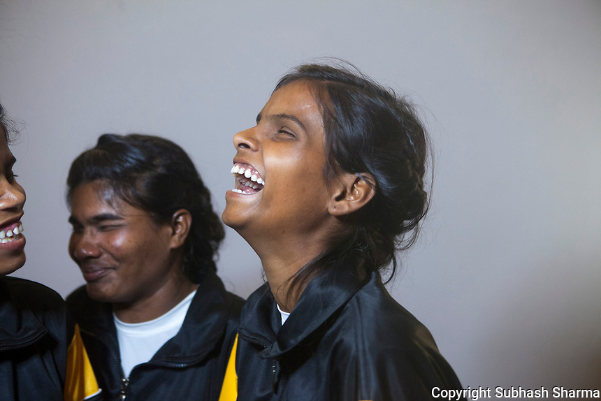 27 Feb 2017 - New Delhi - INDIA.<br /> Triveni Thakur bonds together with fellow Visually Impaired girls as they get ready to demonstrate their Self defense &amp; Judo Skills at an Event in Delhi.<br /> <br /> Women and girls with disabilities are at a much higher risk of violence and abuse than their peers. Recently in the news there have been cases of young visually impaired girls being raped and sexually abused in India. <br /> As part of empowering and developing the skills of young visually impaired girls, Sightsavers is piloting an adolescent health programme to enable them to respond to real life situations in positive and responsive ways. As part of this Sightsavers is training visually impaired girls in self-defence. Many of the girls, who come from economically underprivileged backgrounds, have gone on to win medals in the National Blind and Deaf Judo Championships and a few want to go on to teach other girls with disabilities in the arts of self-defence. <br /> (Subhash Sharma for Sightsavers) Sightsavers - Visually Impaired Girls Learn Self Defense Skills.