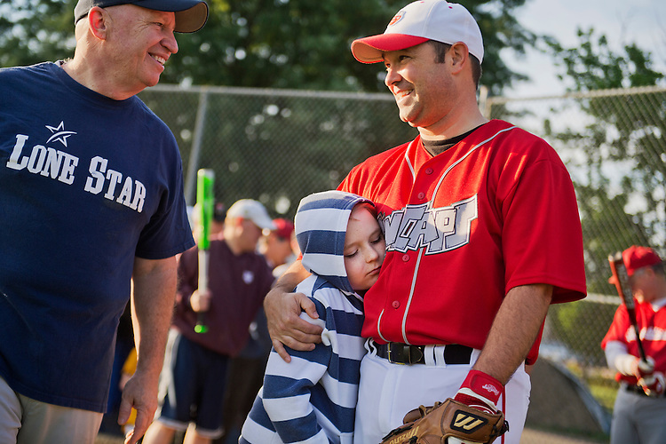UNITED STATES - MAY 14: Rep. Marlin Stutzman, R-Ind., right, his son Preston, 9, and Rep. Kevin Brady, R-Texas, attend Republican baseball practice in Alexandria, Va., May 14, 2015. (Photo By Tom Williams/CQ Roll Call)