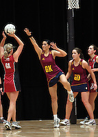 05.10.2012 Southland's Sara Bartley in action during the netball match between Southland and Counties Manukau at the Lion Foundation Netball Champs in Tauranga. Mandatory Photo Credit ©Michael Bradley.