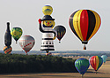 26/07/15<br /> <br /> Photo taken by Robin Macey a member of Nottingham and Derby Hot Air Balloon Club, who was taking part in the attempt, this morning, to set a new world record for most balloons launched in under 60 minutes (433) and also for the longest line up of standing balloons at the Lorraine Mondial Balloon Festival at Chamberly Air Base, France. <br /> <br /> All Rights Reserved: F Stop Press Ltd. +44(0)1335 418629   www.fstoppress.com.