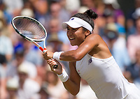 Heather Watson of Great Britain in action during her defeat by Victoria Azarenka of Belarus in their Ladies' Singles Third Round Match today - Azarenka def Watson 3-6, 6-1, 6-4<br /> <br /> Photographer Ashley Western/CameraSport<br /> <br /> Wimbledon Lawn Tennis Championships - Day 5 - friday 7th July 2017 -  All England Lawn Tennis and Croquet Club - Wimbledon - London - England<br /> <br /> World Copyright &not;&copy; 2017 CameraSport. All rights reserved. 43 Linden Ave. Countesthorpe. Leicester. England. LE8 5PG - Tel: +44 (0) 116 277 4147 - admin@camerasport.com - www.camerasport.com