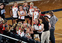 Western Kentucky during a time out in the game against Florida International in the semi-finals of the Sunbelt Conference Volleyball Tournament.  Western Kentucky won the match 3-0 on November 18, 2011 at Miami, Florida. .