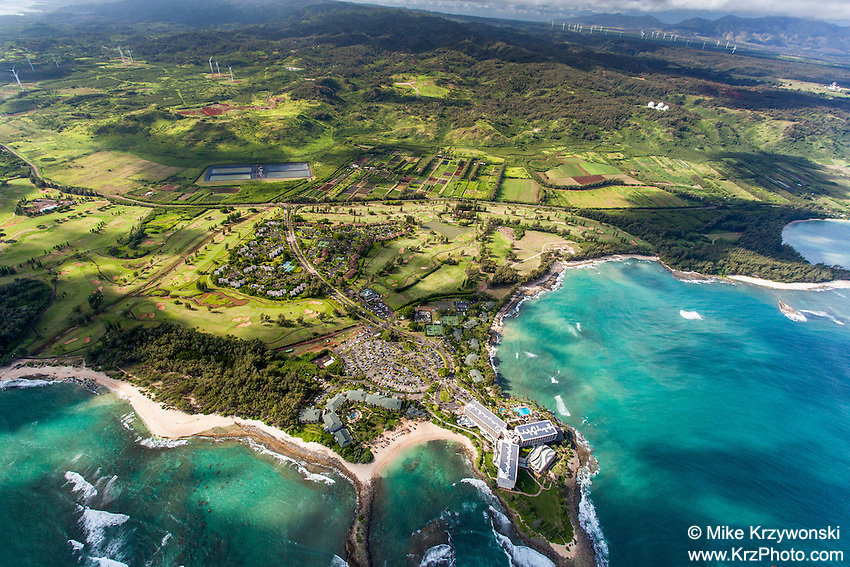 Aerial view of Turtle Bay Resort and Kuilima Estates, North Shore, Oahu