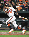 Baltimore Orioles Manny Machado (13) during a game against the Toronto Blue Jays on April 5, 2017 at Oriole Park at Camden Yards in Baltimore, MD. The Orioles beat the Blue Jays 3-1.