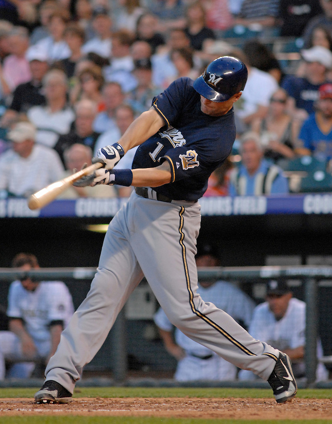 06 June 2008: Brewers infielder Russ Branyan hits a homerun during a regular season game between the Milwaukee Brewers and the Colorado Rockies at Coors Field in Denver, Colorado.*****For editorial use only*****