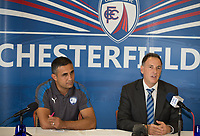 Ashley Carson Unveil Chesterfield's new Manager club legend Jack Lester (who previously made over 200 appearances for the club) at the Proact stadium, Chesterfield, England on 29 September 2017. Photo by James Williamson.