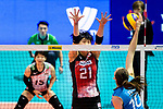 Ai Kurogo of Japan (L) blocks Anahi Florencia Tosi of Argentina (R) during the FIVB Volleyball Nations League Hong Kong match between Japan and Argentina on May 31, 2018 in Hong Kong, Hong Kong. Photo by Marcio Rodrigo Machado / Power Sport Images