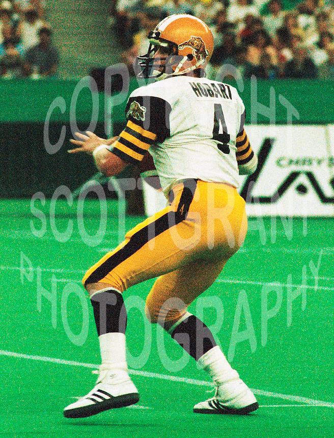 ken Hobart HamiltonTiger Cats quarterback 1985. Copyright photograph Scott Grant