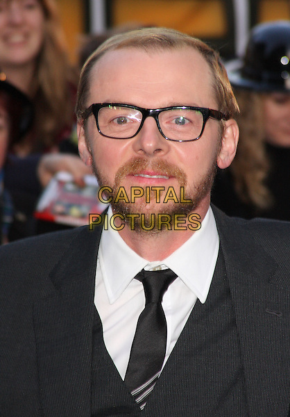 Simon Pegg.'The Adventures of Tintin: The Secret of the Unicorn' UK film premiere, 55th BFI London Film Festival, Odeon West End cinema, Leicester Square, London, England..23rd October 2011.LFF headshot portrait black beard facial hair glasses grey gray.CAP/ROS.©Steve Ross/Capital Pictures