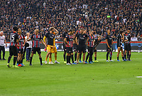 Siegesjubel Eintracht Frankfurt - 29.08.2019: Eintracht Frankfurt vs. Racing Straßburg, UEFA Europa League, Qualifikation, Commerzbank Arena<br /> DISCLAIMER: DFL regulations prohibit any use of photographs as image sequences and/or quasi-video.