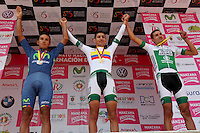 PAIPA - COLOMBIA- 19 - 02 - 2016: Walter Vargas (Cent.), ciclista de la Liga de Antioquia, medalla de oro, Bryan Ramírez (Izq.) del Movistar América  Continental, Medalla de Plata  y Juan Pablo Redón (Der.) de la Liga de Antioquía, Medalla de Bronce,  durante la prueba contrarreloj individual entre las ciudades de Paipa y Duitama en una distancia de 35,2 kilometros de Los Campeonato Nacionales de Ciclismo en la categoría Elite, que se realizan en Boyaca. / Walter Vargas (C),  cyclist, of Liga de Antioquia, wins the gold medal, Bryan Ramírez (L) of Movistar América  Continental, Silver Medal and Juan Pablo Redón (R) of Liga de Antioquía, Bronze Medal,  during the individual time trial between the towns of Paipa and Duitama at a distance of 35.2 km of the National Cycling Championships in category Elite, performed in Boyaca. / Photo: VizzorImage / Cesar Melgarejo / Cont.