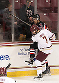 Noah Hanifin (BC - 7), Taylor MacDougall (UNB - 22) - The Boston College Eagles defeated the visiting University of New Brunswick Varsity Reds 6-4 in an exhibition game on Saturday, October 4, 2014, at Kelley Rink in Conte Forum in Chestnut Hill, Massachusetts.