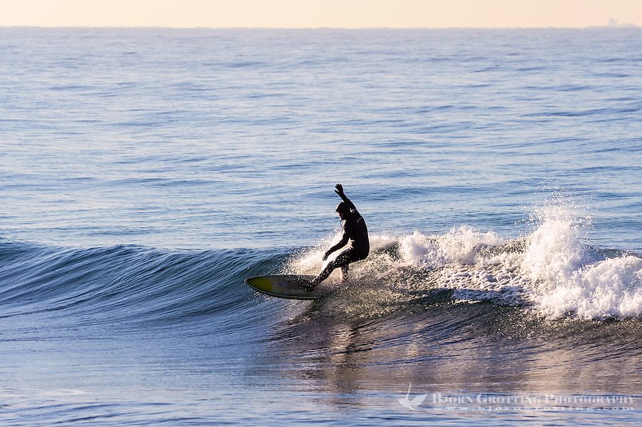Norway, Klepp. Winter surfing on Borestrand.