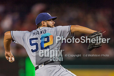 22 July 2016: San Diego Padres pitcher Brad Hand on the mound against the Washington Nationals at Nationals Park in Washington, DC. The Padres defeated the Nationals 5-3 to take the first game of their 3-game, weekend series. Mandatory Credit: Ed Wolfstein Photo *** RAW (NEF) Image File Available ***