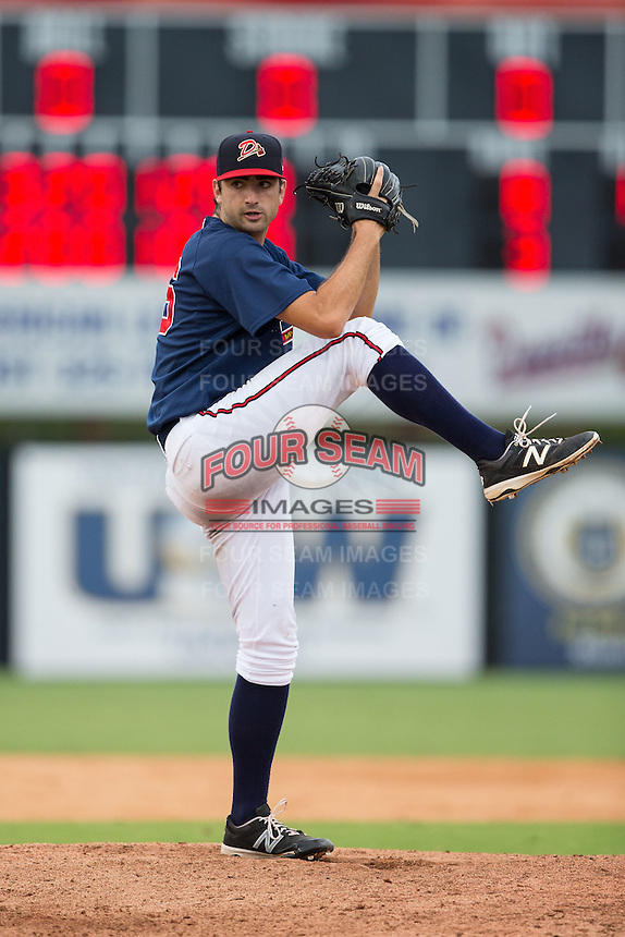 Danville Braves relief pitcher Zach Rice (46) in action against the Pulaski Yankees at American Legion Post 325 Field on July 31, 2016 in Danville, Virginia.  The Yankees defeated the Braves 8-3.  (Brian Westerholt/Four Seam Images)
