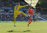 Blackpool's Jordan Thompson under pressure from Wycombe Wanderers' Ryan Allsop<br /> <br /> Photographer Kevin Barnes/CameraSport<br /> <br /> The EFL Sky Bet League One - Wycombe Wanderers v Blackpool - Saturday 4th August 2018 - Adams Park - Wycombe<br /> <br /> World Copyright &copy; 2018 CameraSport. All rights reserved. 43 Linden Ave. Countesthorpe. Leicester. England. LE8 5PG - Tel: +44 (0) 116 277 4147 - admin@camerasport.com - www.camerasport.com