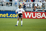 19 June 2003: Brandi Chastain of the San Jose CyberRays poses after giving the WUSA American Stars a 1-0 lead in the 29th minute. The WUSA World Stars defeated the WUSA American Stars 3-2 in the WUSA All-Star Game held at SAS Stadium in Cary, NC.