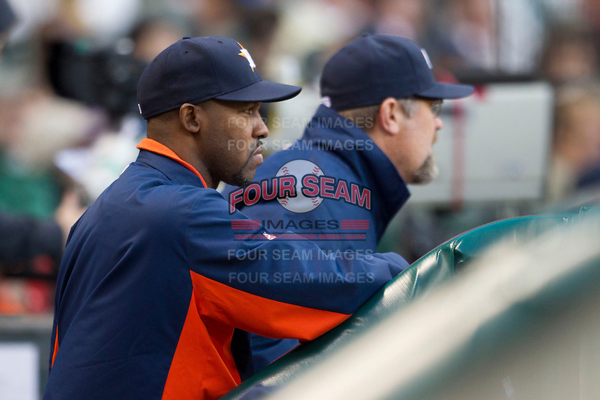 Houston Astros manager Bo Porter in the dugout during the MLB baseball game against the Detroit Tigers on May 3, 2013 at Minute Maid Park in Houston, Texas. Detroit defeated Houston 4-3. (Andrew Woolley/Four Seam Images).