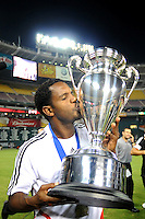 DC United forward Luciano Emilio (11) kisses the Lamar Hunt US. Open Cup after the win, DC United defeated The Charleston Battery 2-1, to win the  Lamar Hunt U.S. Open Cup at RFK Stadium in Washington DC, Saturday September 3, 2008.