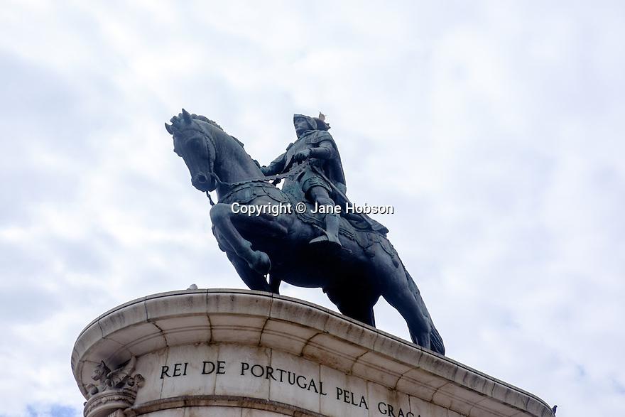 Lisbon, Portugal. 21.03.2015. Statue of Dom Joao I, Praça da Figueira. © Jane Hobson.