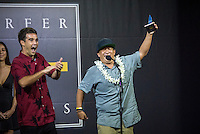 """Turtle Bay Resort, North Shore, Oahu, Hawaii. (Tuesday December 6, 2016): Mason Ho (HAW) and Keoni """"Cheeseburger"""" Nozaki (HAW) after wining the Best Web Clip. the annual Surfer Poll Awards were held tonight at the Turtle Bay Resort with the new world champion John John Florence (HAW) taking out the #1 spot on the Men's Reader Poll and Carissa Moore (HAW) #1 on the women's poll. Photo: joliphotos"""