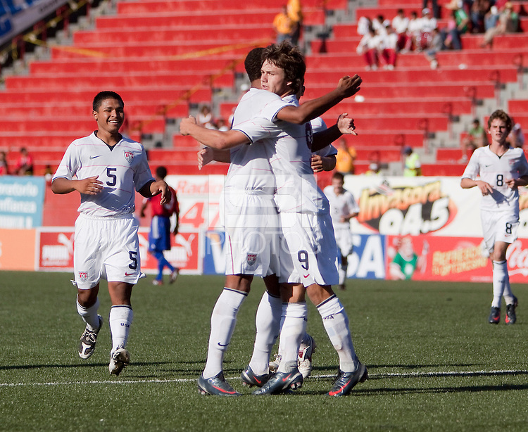 Jack McInerney and Stefan Jerome celebrate. The Under-17 US Men's National Team defeated Cuba 5-0 at the 2009 CONCACAF Under-17 Championship April 21, 2009 in Tijuana, Mexico.