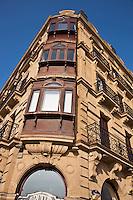 Europe/Espagne/Guipuscoa/Pays Basque/Saint-Sébastien: Détail immeuble Paséo Salamanca