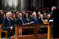 From left, President Donald Trump, first lady Melania Trump, former President Barack Obama, Michelle Obama, former President Bill Clinton, former Secretary of State Hillary Clinton, and former President Jimmy Carter listen as former Sen. Alan Simpson, R-Wyo., speaks during a State Funeral at the National Cathedral, Wednesday, Dec. 5, 2018, in Washington, for former President George H.W. Bush.<br /> Credit: Alex Brandon / Pool via CNP / MediaPunch